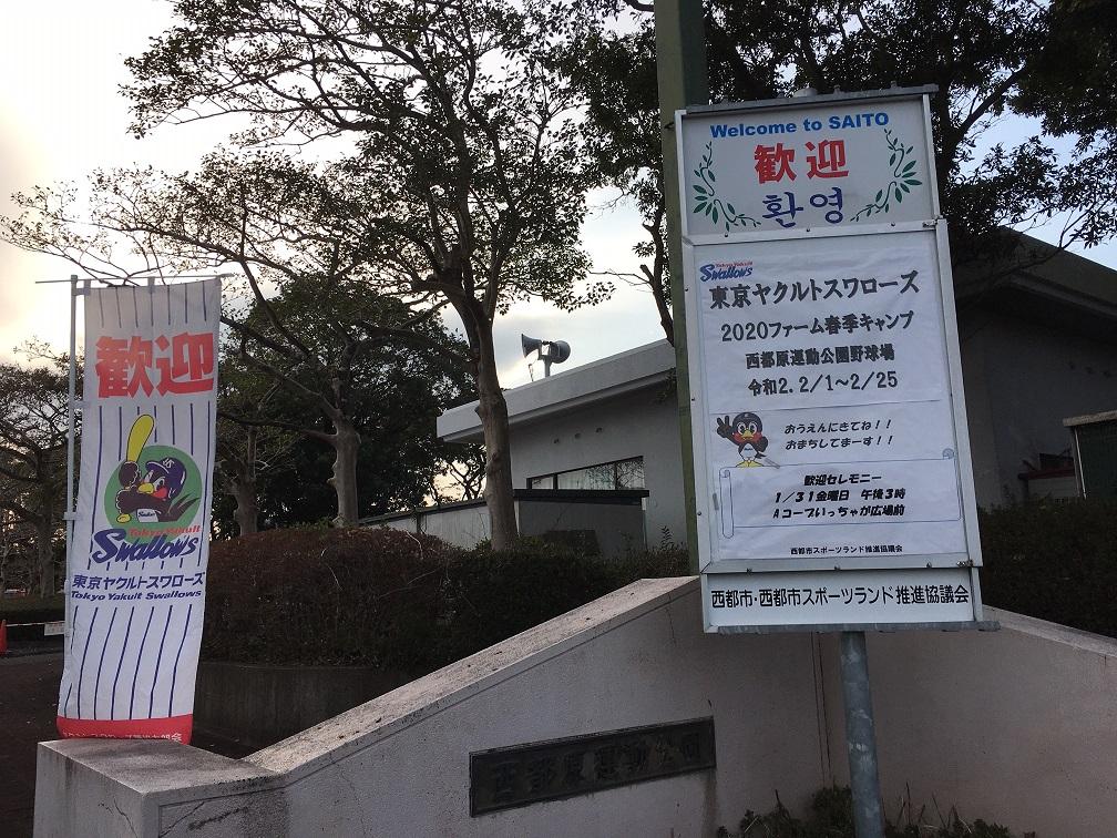 西都原運動公園では東京ヤクルトスワローズファームキャンプが行われています。